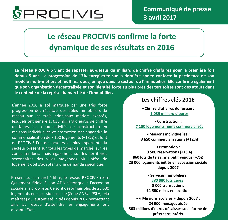 COMMUNIQUE DE PRESSE-RÉSEAU PROCIVIS CHIFFRES RÉSULTATS 2016-avril 2017