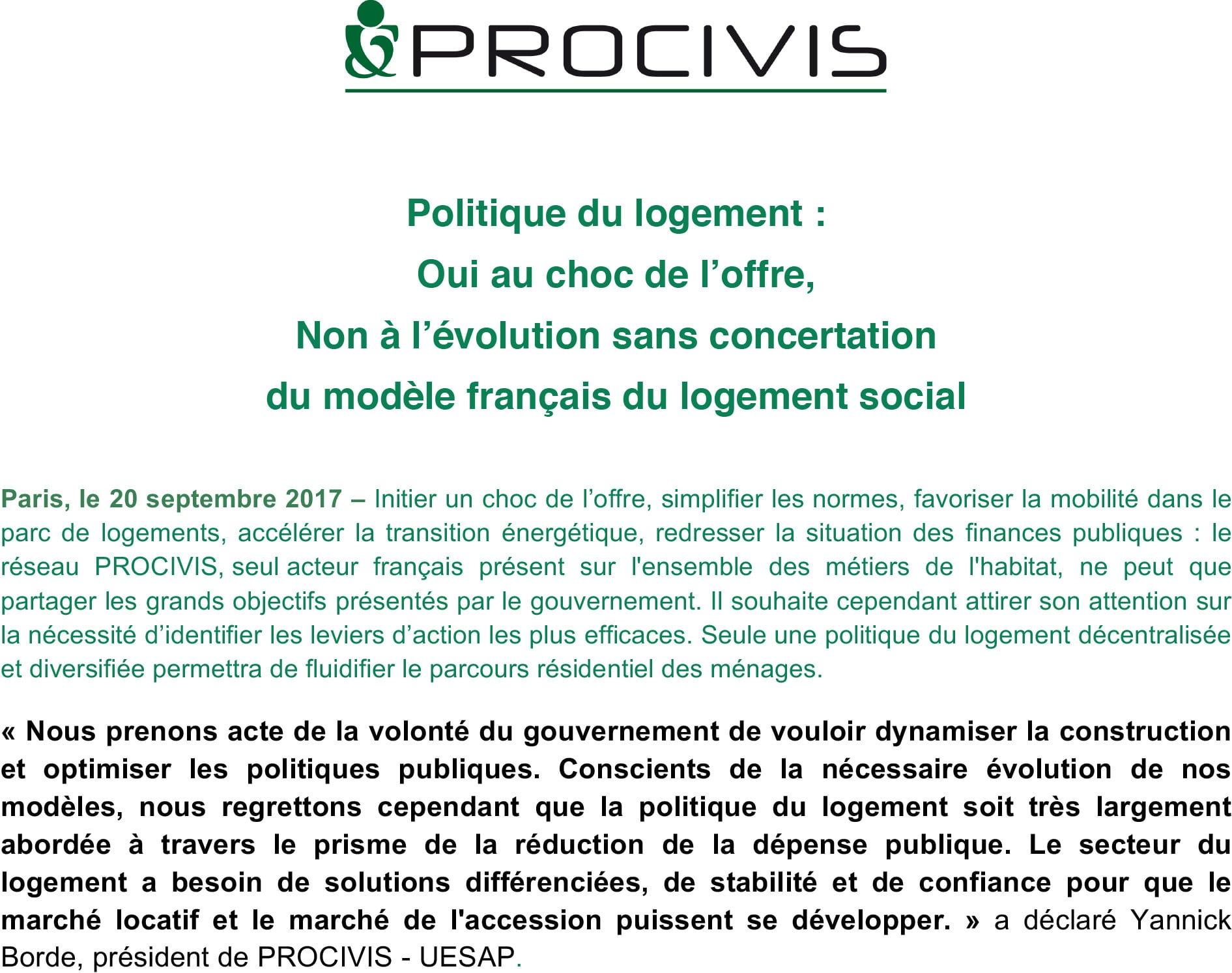 IMAGE A LA UNE CP-POLITIQUE LOGEMENT-SEPT 2017