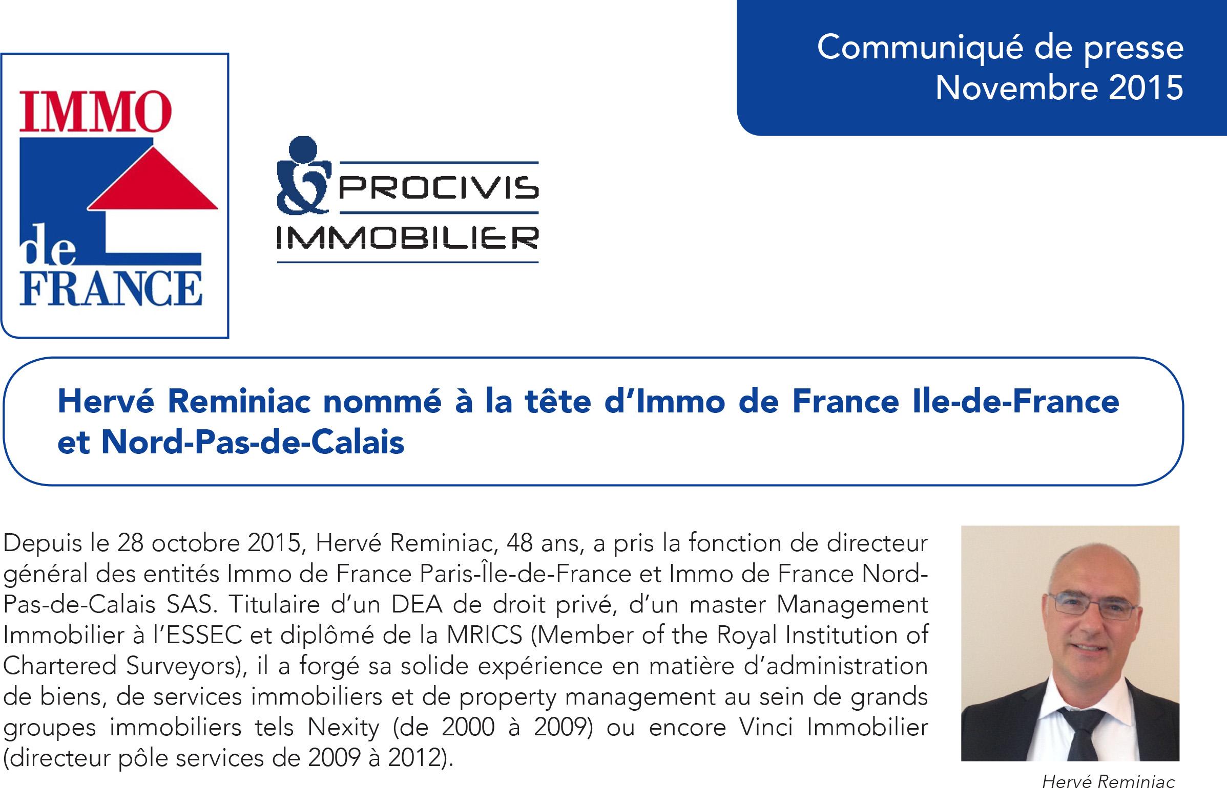 procivis IMMO DE FRANCE hervé reminiac