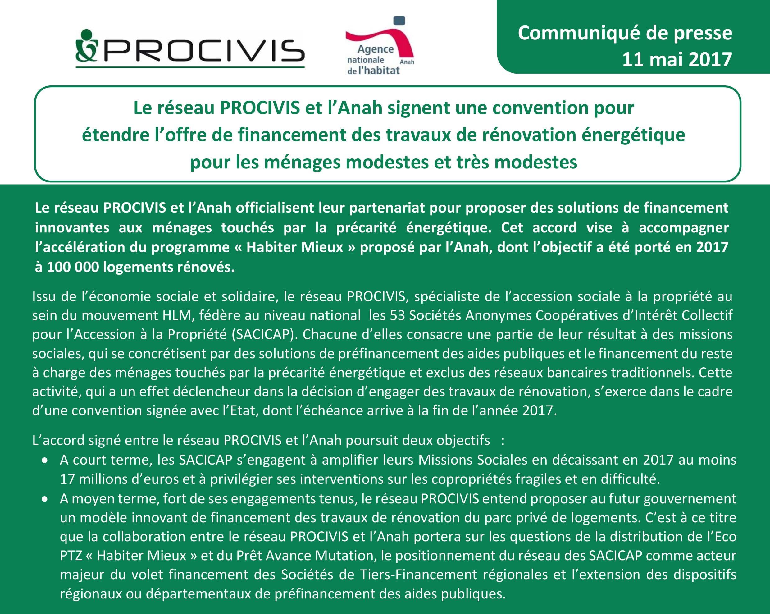 LE RESEAU PROCIVIS ET L'ANAH SIGNENT UNE CONVENTION