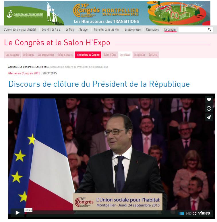 procivis president de la république congrès HLM 2015 François hollande