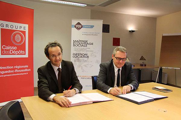 FDI HABITAT RESEAU PROCIVIS PARTENARIAT CDC Dominique GUERIN Directeur général de FDI HABITAT et Olivier CAMAU Directeur régional de la Caisse des Dépôts