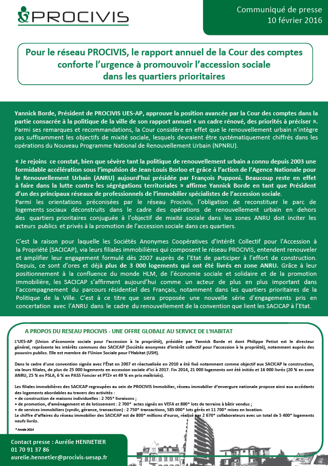 procivis communique presse rapport annuel Cour des comptes conforte urgence