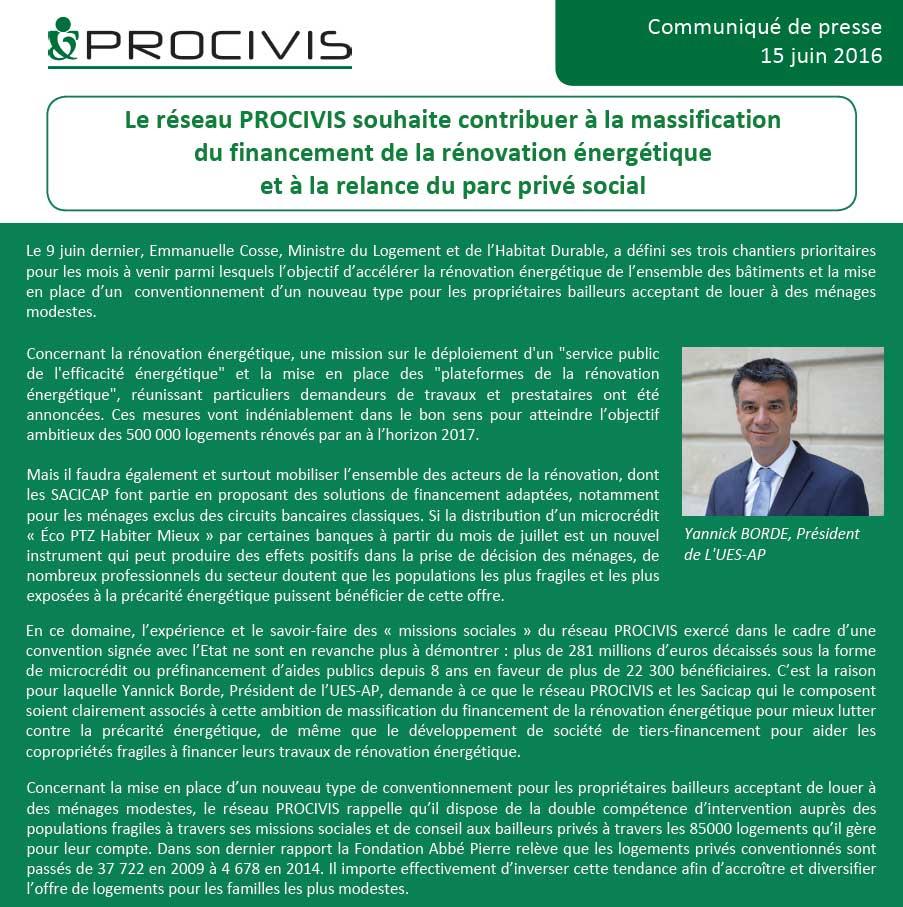 Le réseau PROCIVIS souhaite contribuer à la massification du financement de la rénovation énergétique et à la relance du parc privé social.