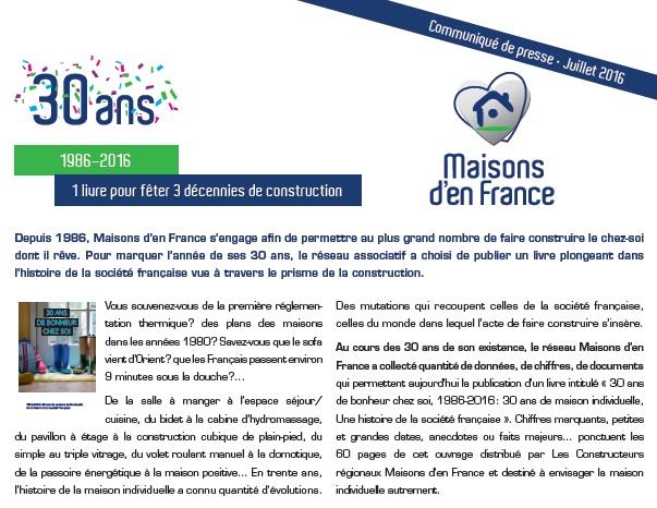 Communiqué de Presse - Maisons d'en France - Livre « 30 ans de bonheur chez soi »-juillet 2016 - PROCIVIS - constructeur de maisons individuelles - construction